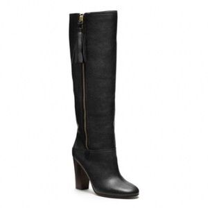 Coach Black Leather Knee High Therese Boots